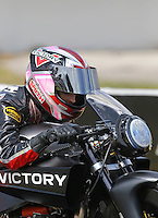 Mar 13, 2015; Gainesville, FL, USA; NHRA pro stock motorcycle rider Angie Smith during qualifying for the Gatornationals at Auto Plus Raceway at Gainesville. Mandatory Credit: Mark J. Rebilas-