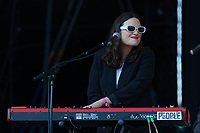 Pictured: Jessica Staveley-Taylor of the Staves at the Mountain stage. Sunday 22 August 2021<br /> Re: Green Man Festival near Crickhowell, Wales, UK.