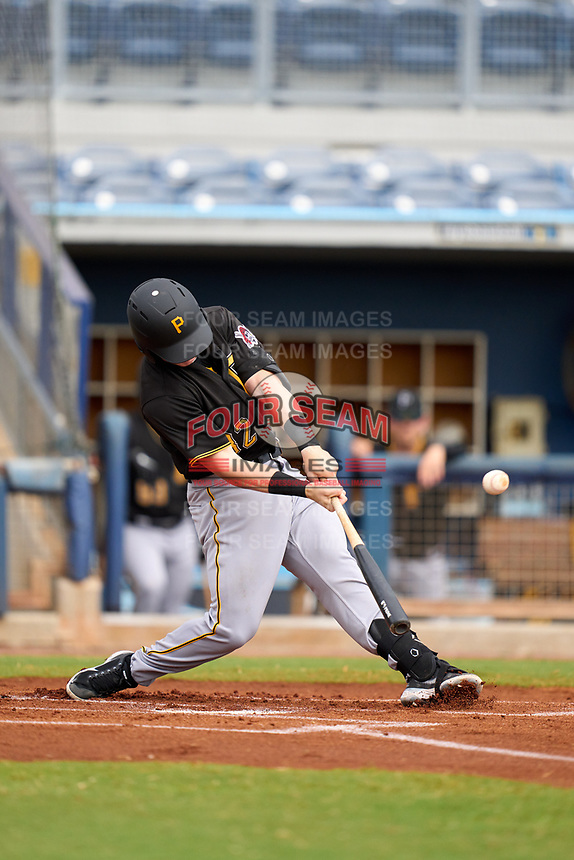 FCL Pirates Black Henry Davis (32) flies out to centerfield in the top of the first inning during a game against the FCL Rays on August 3, 2021 at Charlotte Sports Park in Port Charlotte, Florida.  Davis was making his professional debut after being selected first overall in the MLB Draft out of Louisville by the Pittsburgh Pirates.  (Mike Janes/Four Seam Images)