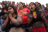 Payssandu x Gavião Kyikatejê.<br /> Índios Gavião Kyikatejê de Bom Jesus do Tocantins no Pará no estádio da Curuzú..<br /> Jorgo de abertura do Parazão 2014 , o primeiro com time de origem indígena.<br /> Belém, Pará, Brasil.<br /> Foto Paulo Santos<br /> 12/01/2014