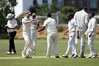 Aditya Kumar of Gidea Park celebrates with his team mates after taking the 5th Oakfield wicket during Oakfield Parkonians CC (batting) vs Gidea Park and Romford CC, Hamro Foundation Essex League Cricket at Oakfield Playing Fields on 17th July 2021
