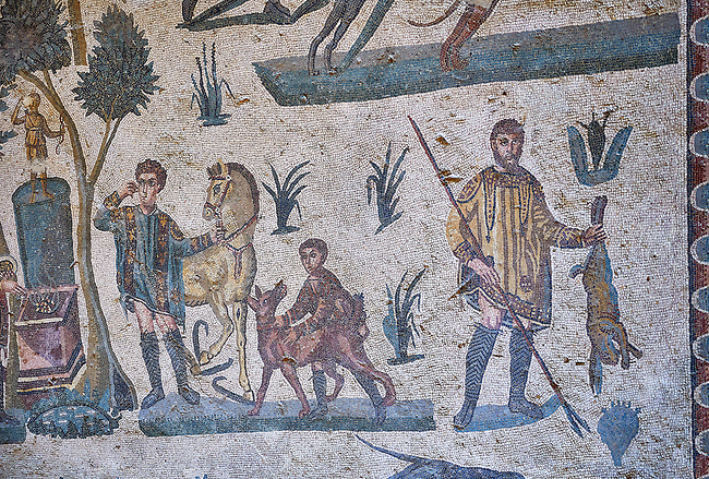 Hunters hunting. Roman mosaic floor of the Room of The Small Hunt, no 25 - Roman mosaics at the Villa Romana del Casale ,  circa the first quarter of the 4th century AD. Sicily, Italy. A UNESCO World Heritage Site.