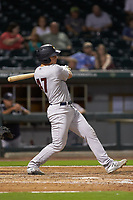 Erik Kratz (47) of the Scranton/Wilkes-Barre RailRiders follows through on his swing against the Charlotte Knights at BB&T BallPark on August 13, 2019 in Charlotte, North Carolina. The Knights defeated the RailRiders 15-1. (Brian Westerholt/Four Seam Images)