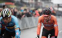 Mathieu Van der Poel (NLD/BKCP-Corendon) in Wout Van Aert's (BEL/Crelan-Vastgoedservice) slipstream<br /> <br /> Men's Elite Race<br /> <br /> UCI 2016 cyclocross World Championships,<br /> Zolder, Belgium