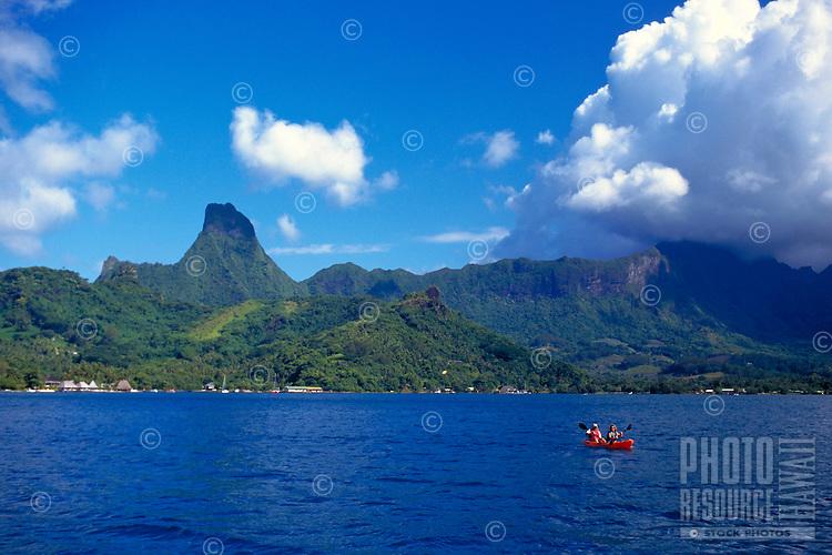 Kayakers explore Cooks Bay, Moorea, Tahiti