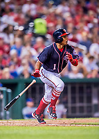 28 April 2017: Washington Nationals infielder Wilmer Difo at bat against the New York Mets at Nationals Park in Washington, DC. The Mets defeated the Nationals 7-5 to take the first game of their 3-game weekend series. Mandatory Credit: Ed Wolfstein Photo *** RAW (NEF) Image File Available ***
