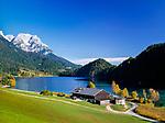 Austria, Tyrol, near Scheffau am Wilden Kaiser: lake Hintersteiner See and Wilder Kaiser mountains | Oesterreich, Tirol, bei Scheffau am Wilden Kaiser: der Hintersteiner See vorm Wilden Kaiser