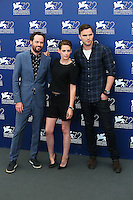 From left, Drake Doremus, Kristen Stewart and Nicholas Hoult attend the photocall for the movie 'Equals' during 72nd Venice Film Festival at the Palazzo Del Cinema, in Venice, Italy, September 5, 2015. <br /> UPDATE IMAGES PRESS/Stephen Richie