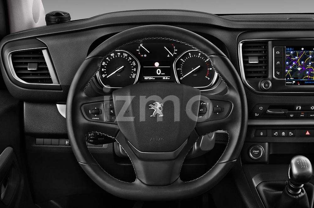 Car pictures of steering wheel view of a 2017 Peugeot Traveller Allure 4 Door Passenger Van Steering Wheel