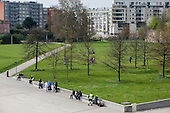 Park in the Euralille district of Lille, France, close to the TGV railway transport hub which boosted the city's economy following the decline of its mining and textile industries.
