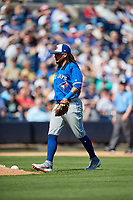 Toronto Blue Jays shortstop Freddy Galvis (16) during a Grapefruit League Spring Training game against the New York Yankees on February 25, 2019 at George M. Steinbrenner Field in Tampa, Florida.  Yankees defeated the Blue Jays 3-0.  (Mike Janes/Four Seam Images)