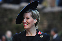 Pictured: Sophie, Countess of Wessex arrive at Llandaff Cathedral, Cardiff, Wales, UK.  Sunday 11 November 2018<br /> Re: Commemoration for the 100 years since the end of the First World War on Remembrance Day at the Llandaff Cathedral, in Llandaff, Cardiff, Wales, UK.