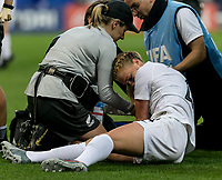 GRENOBLE, FRANCE - JUNE 15: Injured C.J. Bott #4 of the New Zealand National Team left the game during a game between New Zealand and Canada at Stade des Alpes on June 15, 2019 in Grenoble, France.