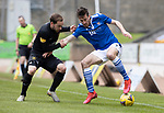 St Johnstone v Livingston…15.05.21  SPFL McDiarmid Park<br />Callum Booth holds off Scott Pittman<br />Picture by Graeme Hart.<br />Copyright Perthshire Picture Agency<br />Tel: 01738 623350  Mobile: 07990 594431