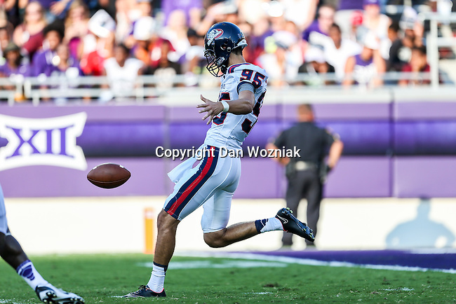 Samford Bulldogs punter Greg Peranich (95) in action during the game between the Samford Bulldogs and the TCU Horned Frogs at the Amon G. Carter Stadium in Fort Worth, Texas.  TCU leads Stamford 24 to 7 at halftime.