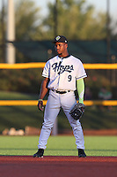 Fernery Ozuna (9) of the Hillsboro Hops in the field at second base during a game against the Salem-Keizer Volcanoes at Ron Tonkin Field on July 27, 2015 in Hillsboro, Oregon. Hillsboro defeated Salem-Keizer, 9-2. (Larry Goren/Four Seam Images)