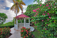 Gazebo with flowers in garden at Marriot Hotel. St. Thomas. US Virgin Islands.