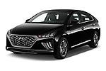 2020 Hyundai Ioniq-Plug-In-Hybrid Shine 5 Door Hatchback Angular Front automotive stock photos of front three quarter view