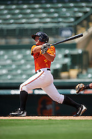 GCL Orioles third baseman Garrett Copeland (15) at bat during a game against the GCL Red Sox on August 16, 2016 at the Ed Smith Stadium in Sarasota, Florida.  GCL Red Sox defeated GCL Orioles 2-0.  (Mike Janes/Four Seam Images)