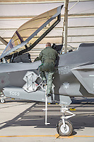 Lockheed Martin F-35 Lightning II multi-role fighter flown by Norwegian Air Force pilot. Stationed at Luke Air Force base, Arizona, as part of US 62.fighter squadron in 56th Fighter wing. The Norwegians train and operate in the US before taking their own aircrafts back to Norway.<br /> Pilot Lieutenant colonel Martin Tesli , Senior National Representative.