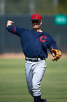 Cleveland Indians Nate Winfrey (32) warms up before an instructional league game against the Milwaukee Brewers on October 8, 2015 at the Maryvale Baseball Complex in Maryvale, Arizona.  (Mike Janes/Four Seam Images)