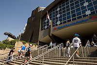 Fans enter Bank of America stadium before the start of a Carolina Panthers' game.