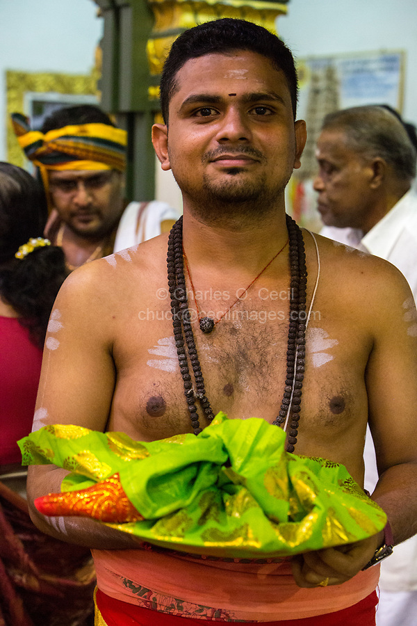 Hindu Priest in Sri Maha Mariamman Temple, Navarathri Celebrations, George Town, Penang, Malaysia.