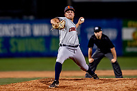 29 August 2019: Connecticut Tigers pitcher Andrew Magno on the mound against the Vermont Lake Monsters at Centennial Field in Burlington, Vermont. The Tigers defeated the Lake Monsters 6-2 in the first game of their NY Penn League double-header.  Mandatory Credit: Ed Wolfstein Photo *** RAW (NEF) Image File Available ***