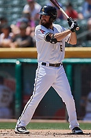 Dustin Ackley (16) of the Salt Lake Bees bats against the El Paso Chihuahuas at Smith's Ballpark on July 8, 2018 in Salt Lake City, Utah. El Paso defeated Salt Lake 15-6. (Stephen Smith/Four Seam Images)