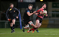 Friday 8th February 2019 | First Trust Ulster Senior Cup Final<br /> <br /> Andrew Willis is tackled by David Whann during the First Trust Ulster Senior Cup Final between Armagh and Ballymena at Kingspan Stadium, Ravenhill Park, Belfast, Northern Ireland. Photo by John Dickson / DICKSONDIGITAL