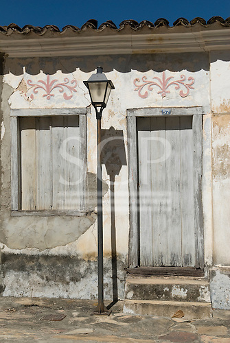 Goias Velho, Brazil. Well preserved colonial town; colonial architecture; dilapidated house.