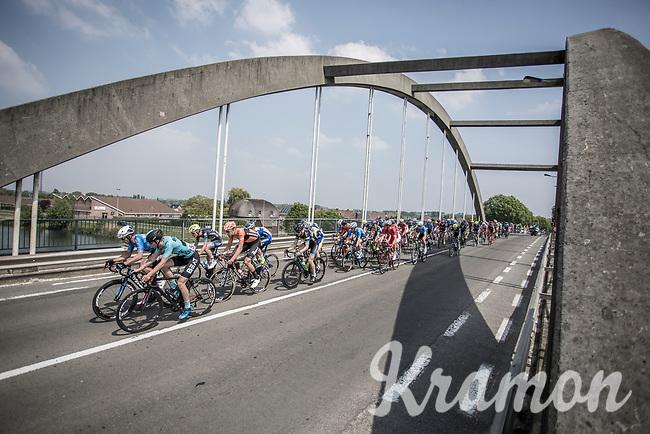 Stijn Devolder (BEL/Willems Veranda's-Crelan) leads the peloton over the bridge. <br /> <br /> GP Marcel Kint 2018 <br /> Kortrijk > Zwevegem 174.8km (BELGIUM)