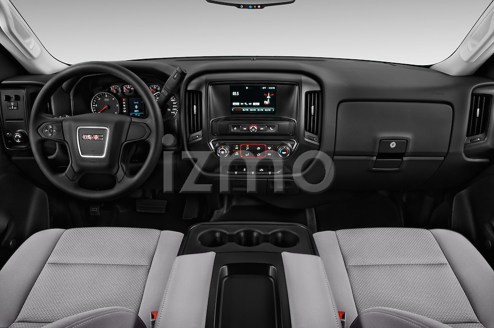 Stock photo of straight dashboard view of 2018 GMC Sierra-2500HD 2WD-Regular-Cab-Long-Box 2 Door Pick-up Dashboard
