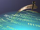 Globe mapped with binary code