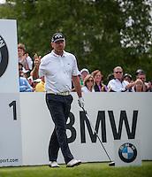 24.05.2015. Wentworth, England. BMW PGA Golf Championship. Final Round.  Thomas Bjorn [DEN] on the first tee. Final round of the 2015 BMW PGA Championship from The West Course Wentworth Golf Club