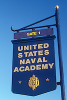 U.S. Naval Academy, Annapolis, MD, Maryland, A blue and gold sign at the entrance to the United States Naval Academy in Annapolis.