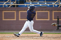 Cameran Brantley (32) of the North Carolina A&T Aggies at bat against the North Carolina Central Eagles at Durham Athletic Park on April 10, 2021 in Durham, North Carolina. (Brian Westerholt/Four Seam Images)