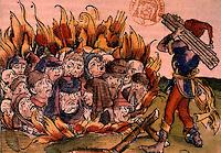 Bubonic Plague:  Jews bring burned--unidentified.