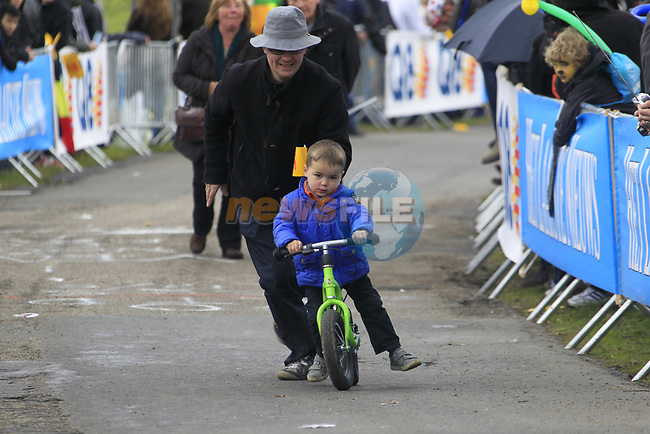 They start young here in Belgium on the climb of the Cote de la Redoute during the 98th edition of Liege-Bastogne-Liege, running 257.5km from Liege to Ans, Belgium. 22nd April 2012.  <br /> (Photo by Eoin Clarke/NEWSFILE).