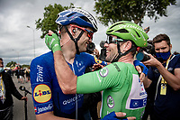the fairy tale return at the highest level of the sport continues for Mark Cavendish (GBR/Deceuninck - Quick Step) as he wins his 33rd  stage in the Tour de France and shares his joy with teammate Kasper Asgreen (DEN/Deceuninck - Quick Step).<br /> <br /> Stage 10 from Albertville to Valence (191km)<br /> 108th Tour de France 2021 (2.UWT)<br /> <br /> ©kramon