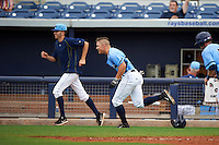 Charlotte Stone Crabs Braxton Lee (30) runs to first after a walk off base hit by Jace Conrad (not shown) during a game against the Dunedin Blue Jays on July 26, 2015 at Charlotte Sports Park in Port Charlotte, Florida.  Charlotte defeated Dunedin 2-1 in ten innings.  (Mike Janes/Four Seam Images)