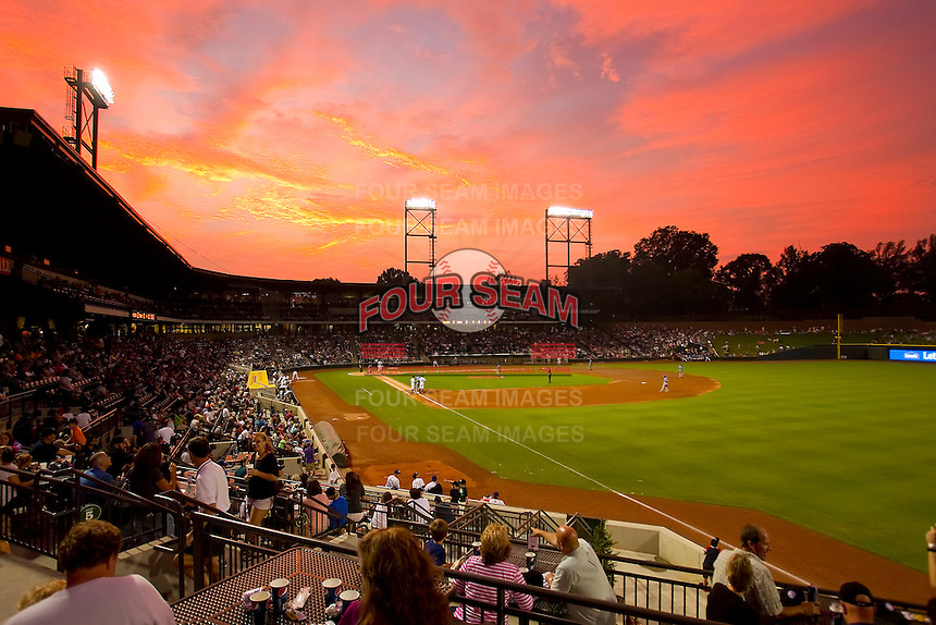 The sun sets over BB&T Ballpark during the Carolina League game between the Myrtle Beach Pelicans and the Winston-Salem Dash on August 27, 2011 in Winston-Salem, North Carolina. The Pelicans defeated the Dash 3-1. (Brian Westerholt/Four Seam Images)