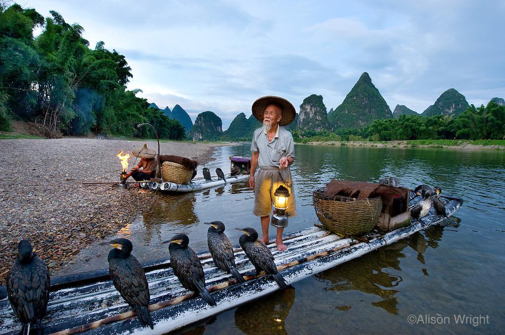 Cormmorant fisherman on the Li River, Guangxi, China, 2010