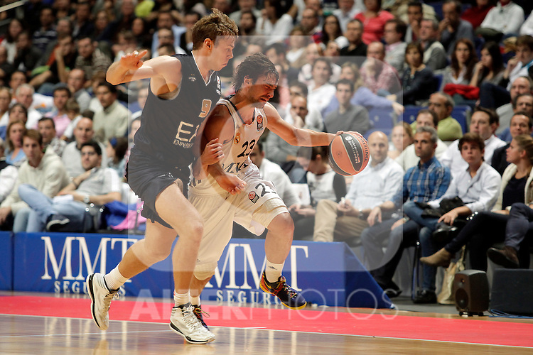 Real Madrid´s Sergio Llull (R) V EA7 Emporio Armani Milan´s Melli (L) during Euroleague Basketball match. November 01,2013. (ALTERPHOTOS/Victor Blanco)