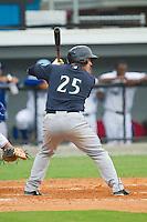 Luke Guarnaccia (25) of the Pulaski Mariners at bat against the Burlington Royals at Burlington Athletic Park on July 20, 2013 in Burlington, North Carolina.  The Royals defeated the Mariners 6-5.  (Brian Westerholt/Four Seam Images)