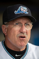 West Michigan Whitecaps manager Lance Parrish (13) in the dugout before the game against the Bowling Green Hot Rods on May 21, 2019 at Fifth Third Ballpark in Grand Rapids, Michigan. The Whitecaps defeated the Hot Rods 4-3.  (Andrew Woolley/Four Seam Images)