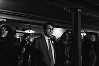 Amir Khadir  at Quebec Solidaire gathering at Olympia theatre on election night, April 7, 2014 <br /> <br /> Photo : Agence Quebec Presse -  Jules Marchetti