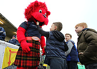 The London Scottish Mascot meets young fans during the Greene King IPA Championship match between London Scottish Football Club and Bedford Blues at Richmond Athletic Ground, Richmond, United Kingdom on 23 December 2017. Photo by Mark Kerton / PRiME Media Images.