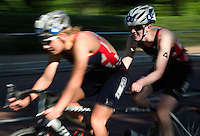 31 MAY 2014 - LONDON, GBR - PT5 category competitor Alison Patrick (GBR) (right) of Great Britain, guided by Jenny Manners, races around Hyde Park in London during the 2014 ITU World Triathlon Series paratriathlon round in Great Britain (PHOTO COPYRIGHT © 2014 NIGEL FARROW, ALL RIGHTS RESERVED)