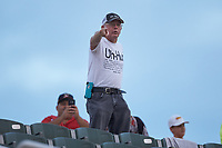 """Uh-huh Guy"" Paul Buchanan yells during the South Atlantic League game between the Hagerstown Suns and the Kannapolis Intimidators at Kannapolis Intimidators Stadium on August 27, 2019 in Kannapolis, North Carolina. The Intimidators defeated the Suns 5-4. (Brian Westerholt/Four Seam Images)"